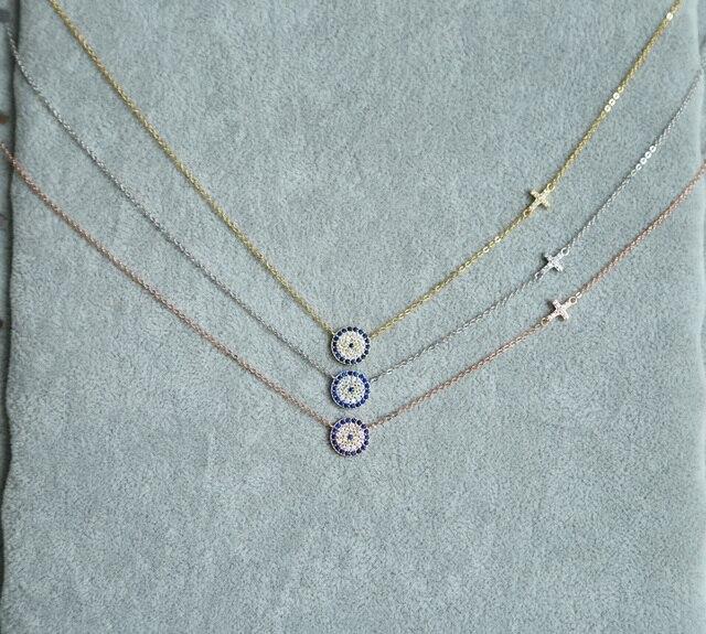 2017 chất lượng cao 3 màu 100% 925 sterling silver bạc xinh xắn mỏng chuỗi tinh tế evil eye nối chéo bạc vòng cổ cho phụ nữ