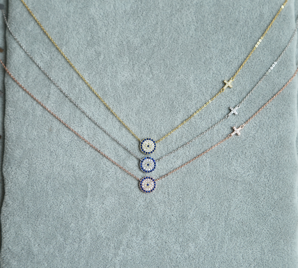 2017 high quality 3 color 100% 925 sterling silver dainty thin chain delicate evil eye cross connector silver necklace for lady blue cz evil eye disco charm cz cross dainty silver chain girl women evil eye jewelry 925 sterling silver lucky eye necklace