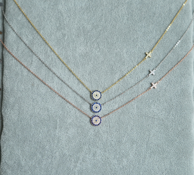 2017 high quality 3 color 100% 925 sterling silver dainty thin chain delicate evil eye cross connector silver necklace for lady