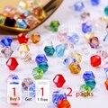 Comprar 1 e obter 1 livre total 200 pcs Colorido 4 milímetros Grânulos De Cristal Bicone Contas de Vidro Soltos Spacer Beads pulseira Fazer Jóias DIY