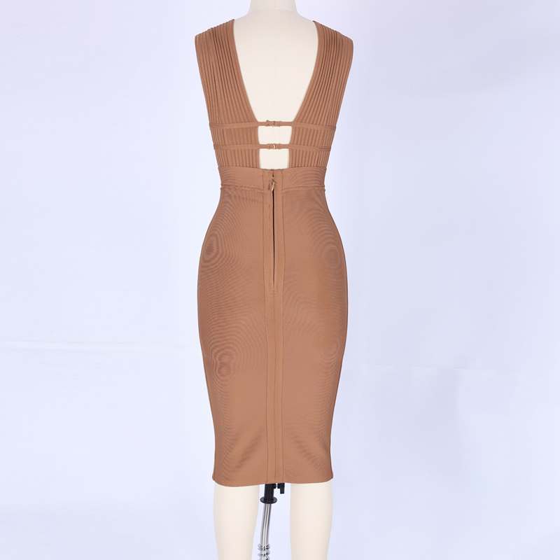 Deep V Neck Cut Out Bandage Bodycon Dress