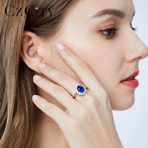 Image 4 - CZCITY anillos de piedras preciosas de rubí y esmeralda de zafiro para mujer, joyería de compromiso de boda, de plata de ley 925
