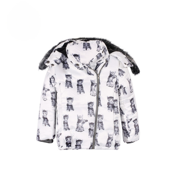 2016 Boy And Girls Outwear Child Cat Design Print Jacket Child cotton-padded Coat With A Hood Clip Charcter Down Jackets