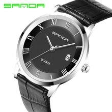 Sanda lujo marcas famosas hombres relojes ultra-delgada de oro de moda para mujer de cuarzo Reloj de Hombre Vogue Leather Reloj Hombre P188G
