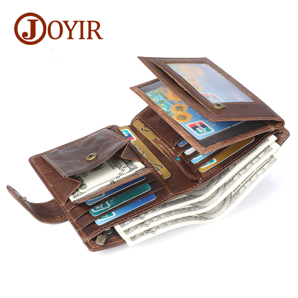 JOYIR Men Genuine Leather Wallet Male Coin Purse Men Wallets RFID Card Holder Male Wallet Small Perse Carteira Masculina 2018 joyir wallet women men leather genuine vintage coin purse zipper men wallets small perse solid rfid card holder carteira hombre