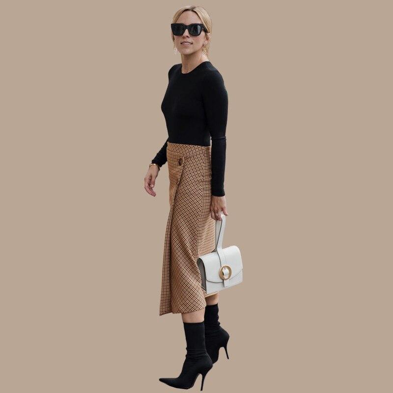 AEL Retro Female Hight Waist Asymmetry Woolen Midi Skirt Wrap New Plaid Women Clothing Vintage Fashion Jupe Longue Femme Slim