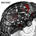 BOYZHE Мужские автоматические механические часы  стальные деловые светящиеся Роскошные лидирующие брендовые военные водонепроницаемые дело...