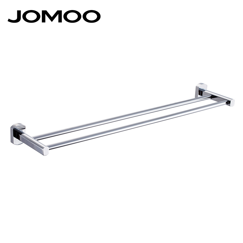 ②JOMOO Brass Chrome Bathroom Lavatory Double Towel Bar Wall Mounted ...