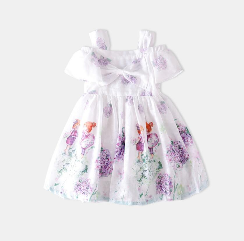 2019 Baby Girls Summer Cotton Bow Printed Dresses Princess Children Fashion Dazzel Dress 6 pcs lot