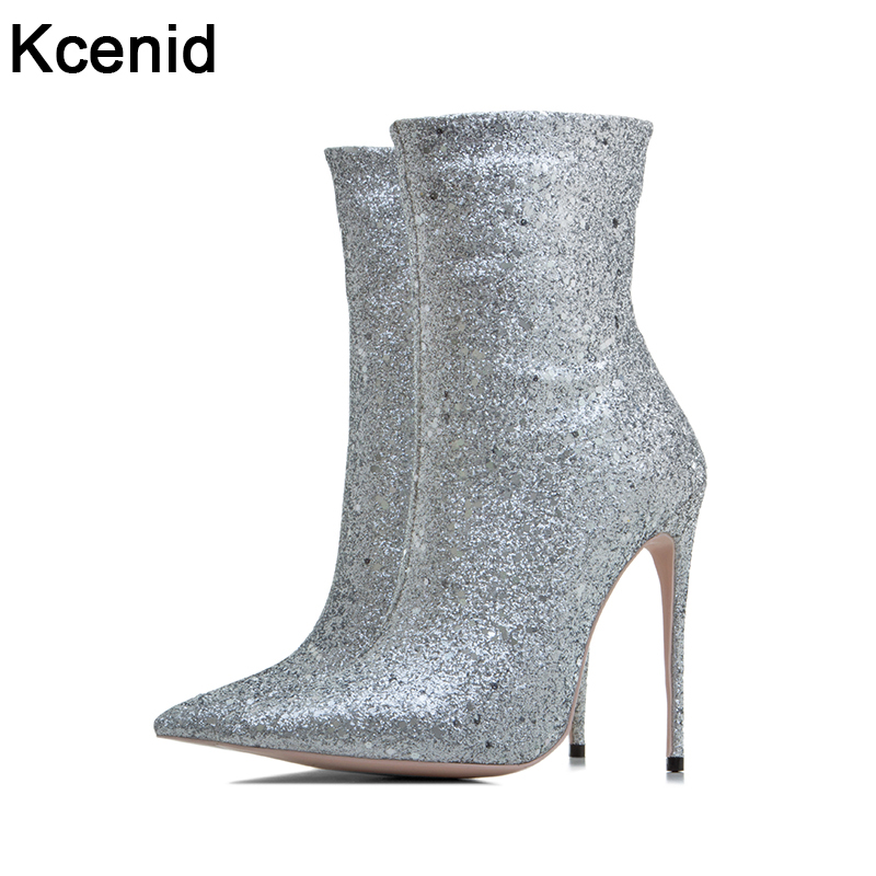 Kcenid Big size 33-43 winter new designer glitter shoes woman sexy pointed toe 12cm thin high heels ankle boots for women silverKcenid Big size 33-43 winter new designer glitter shoes woman sexy pointed toe 12cm thin high heels ankle boots for women silver