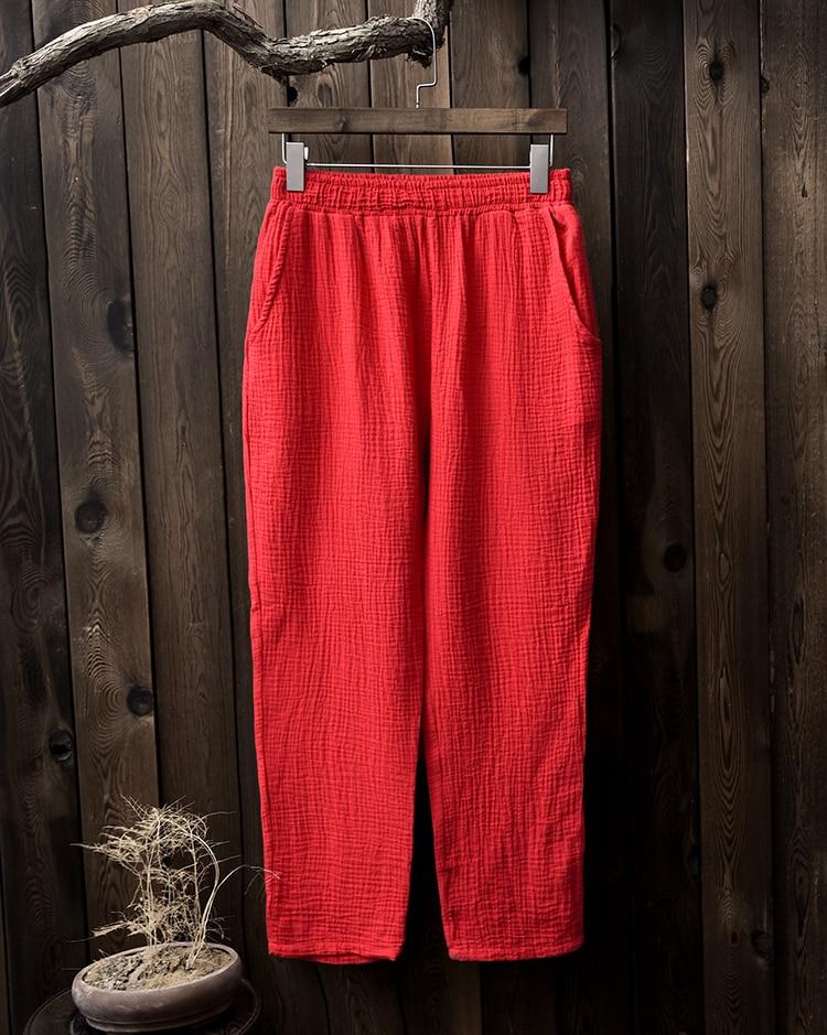 2018 printemps eté femme pantalon décontracté coton lin femme all match  cheville longueur pantalon droit 7 couleurs pantalones mujer dans Pantalons  et ... 674d4b01e8b2