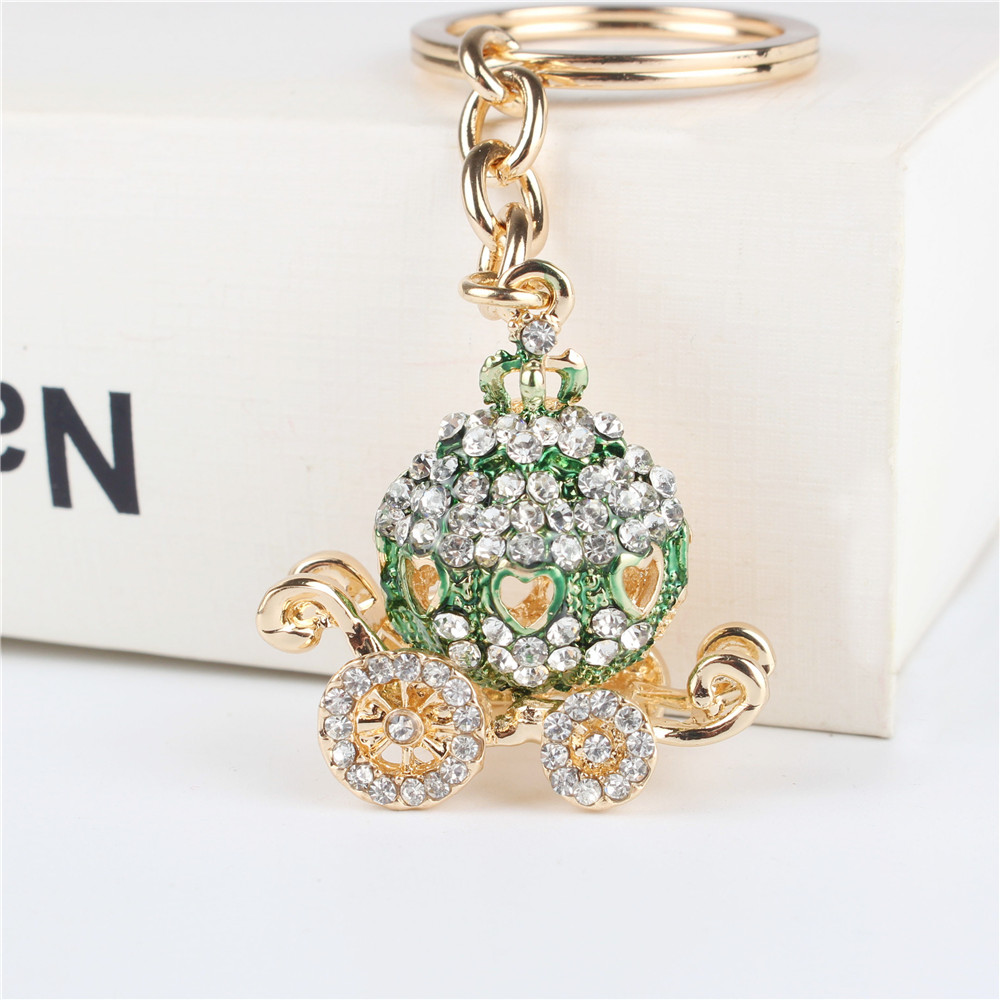 Green Pumpkin Carriage Pendant Charm Rhinestone Crystal Purse Bag Keyring Key Chain Accessories Wedding Party Holder Keyfob Gift