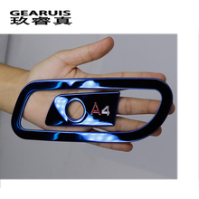 2 Pcs Car Stainless Steel Stickers Car Glove box Cover Car Styling Interior Chrome Trim Strip Accessories For Audi A4 B9 2017