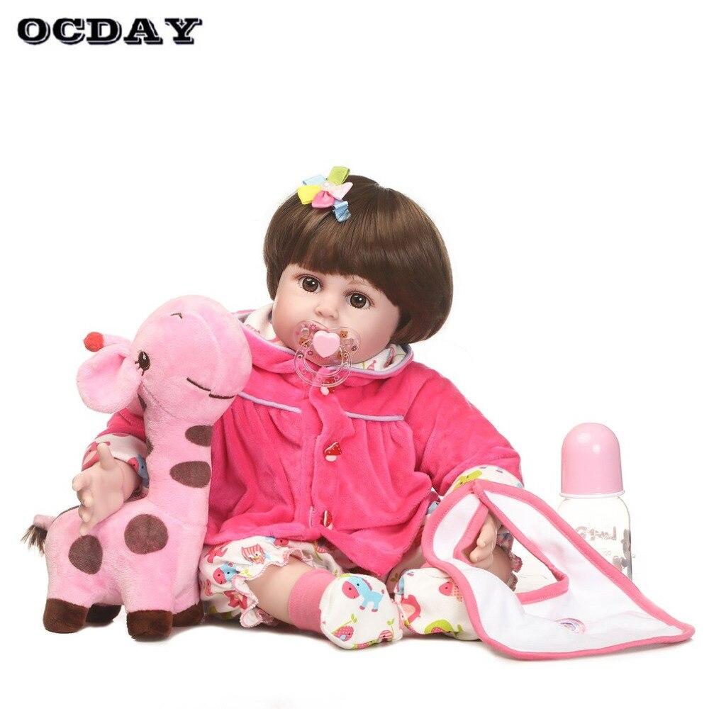 OCDAY Soft Silicone vinyl Dolls Toys Handmade Lifelike Toddler Baby Bonecas Girl Bebe Doll Reborn menina de juguetes New Sale