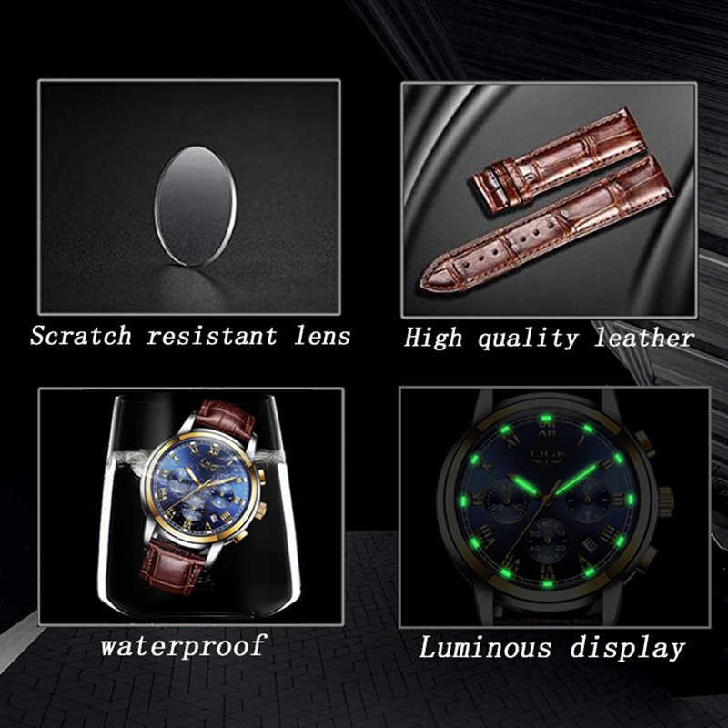 ליגע שעונים גברים ספורט עמיד למים תאריך אנלוגי קוורץ גברים של שעונים הכרונוגרף עסקים שעונים לגברים Relogio Masculino + תיבה