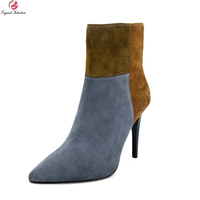 Original Intention Elegant Women Ankle Boots Fashion Pointed Toe Thin Heels Boots Black Gray Camel Shoes