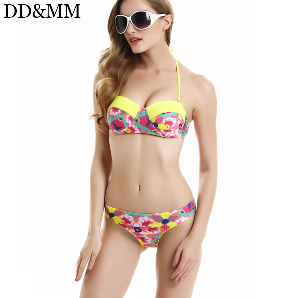 DD&MM Women Strappy Bikini Swimwear Print Bandeau Halter Bikini Set Summer Swimsuit Brazilian Biquin Swimming Suit Bathing Suit bikini summer style 2017 latest deep v halter agent provocateur bikini bathing suit