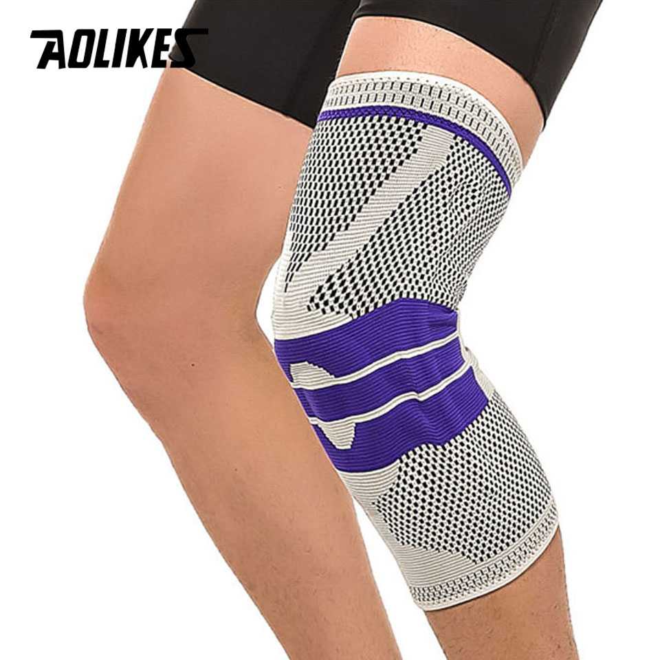 AOLIKES 1PCS Basketball Support Silicon Padded Kneepad Knee Pads Support Brace Meniscus Patella Protector Sports Safety Protect