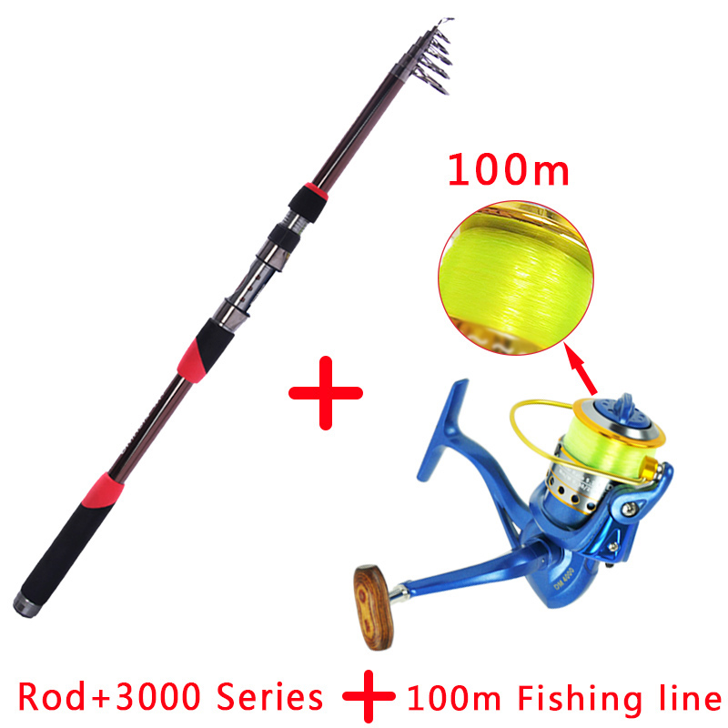 99% carbon fiber portable telescopic 1.8m-3.6m fishing rod rotating casting drum