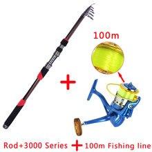 a4bfa35f2 99% portátil de fibra de carbono telescópica 1.8 m-3.6 m vara de pesca  rotativa haste de carbono e tambor fundição isca isca com.