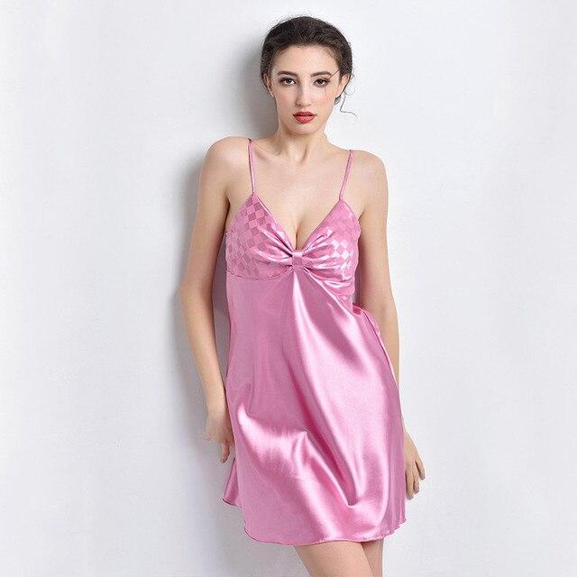 Women Faux Silk Sleepwear Nightgown Womens Nightdress Satin Negliee Spaghetti Strap False Silk Nightgown Women Satin Nightwear