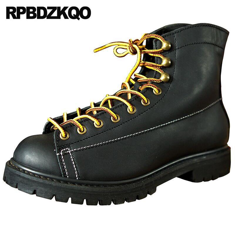 Ankle 2018 Handmade Work Durable Lace Up Genuine Leather Men Designer Boots Black Vintage Full Grain Men's Shoes Working Safety