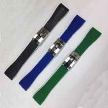 Envío Libre 20mm Nuevo Mens Negro azul verde extremo Curvo De Goma de Silicona Diver Reloj de despliegue BANDAS Correa cierre de ajuste ROlwatch