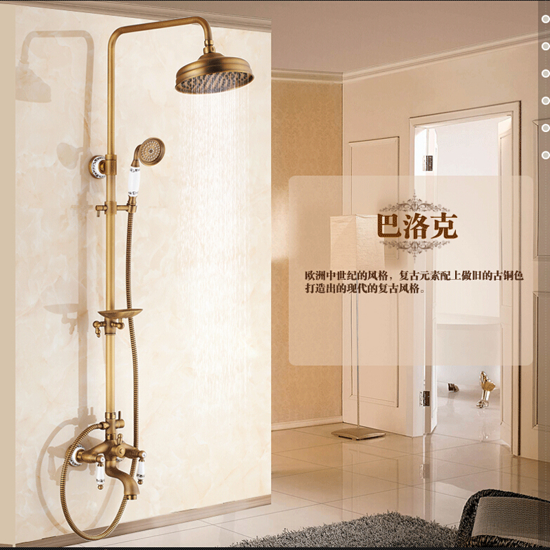 Wholesale And Retail 8 Round Rainfall Shower Head Antique Brass Wall Mounted Tub Faucet W/ Hand Shower Soap Dish