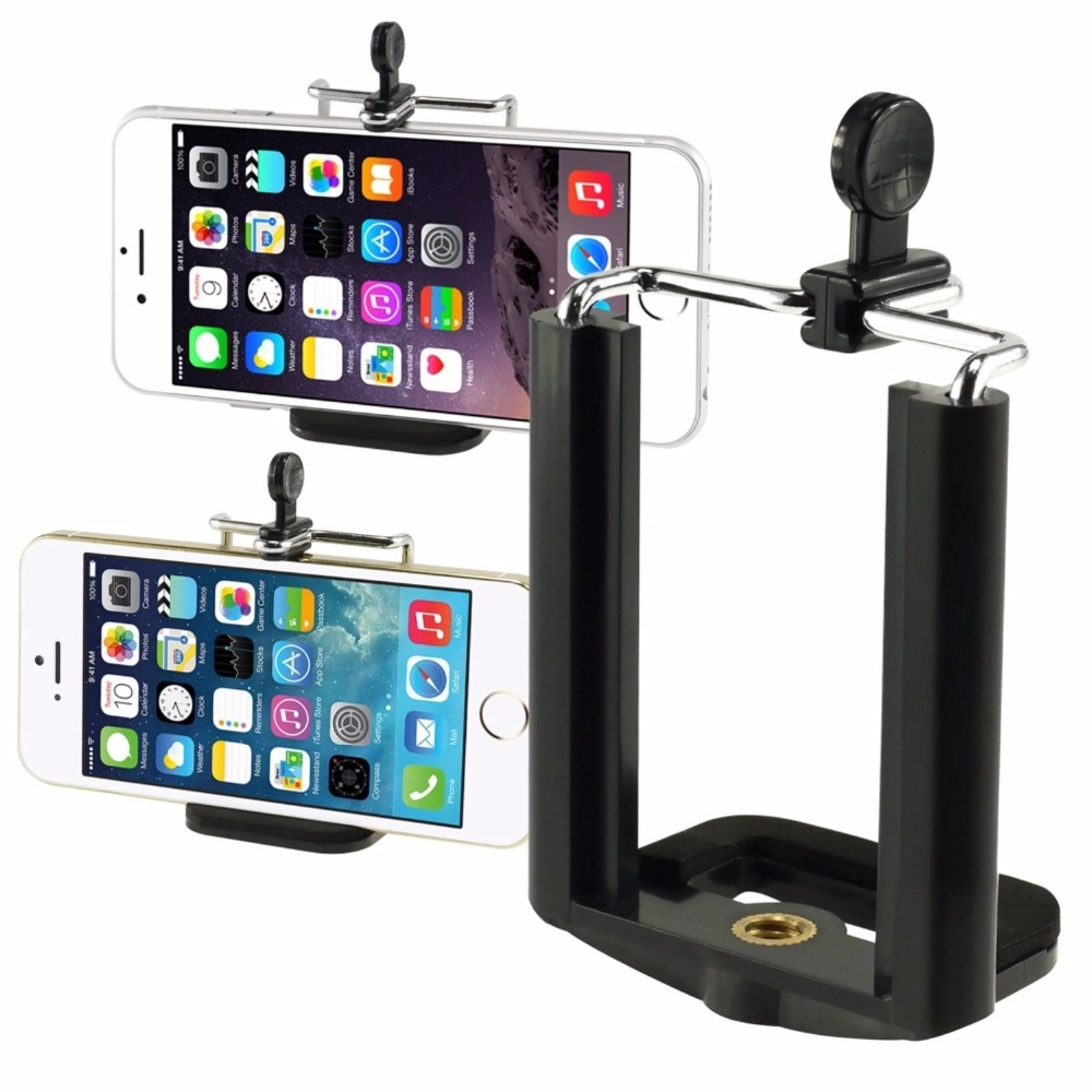 JERX Universal <font><b>Cell</b></font> <font><b>Phone</b></font> Clip Holder for iPhone 8 Plus <font><b>7</b></font> 6 6S 6 Plus SE 5 huawei Camera Bracket Smartphone Tripod Mount Adapter