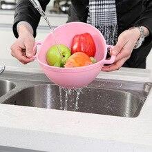 Творчески Пластик Слив Корзина мыть Риса Ситечко Сито яркий Кухня Пластик Drain фрукты овощи Корзины для хранения