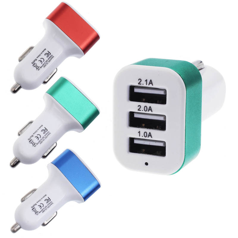 Car Universal 12V 24V To 5V 3 USB Charger Adapter For Smart phone GPS USB Car Charger Adapter Socket Motorcycle Charger