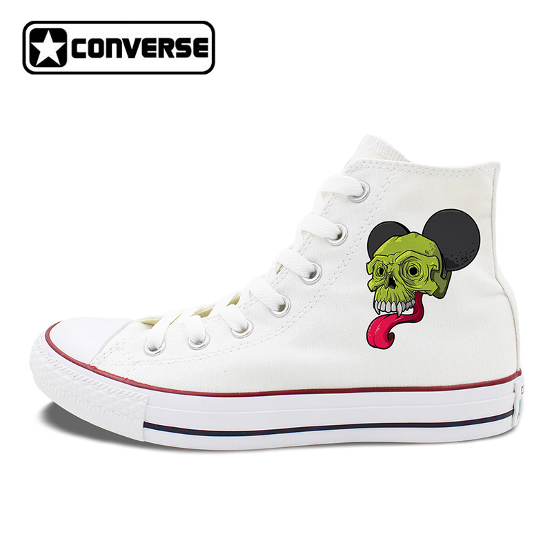 Unisex Converse Shoes White Black Canvas Sneakers Original Design Long Tongue Monster Skull Lace Up Flats Skateboarding