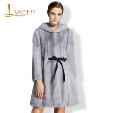 LVCHI 2017 New Style Denmark Women's Real Fur Coats Women tunic jacket Fashion Long Fur Leather Hat Mink Robe Femme coat