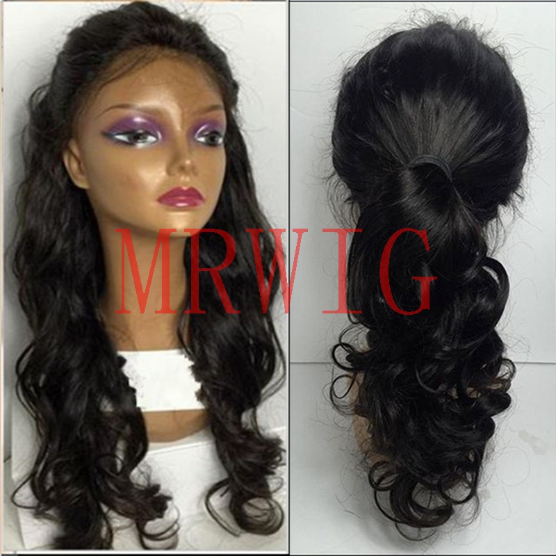 MRWIG Brown/Black long wavy synthetic glueless full lace wig free part baby hair combs&straps for woman
