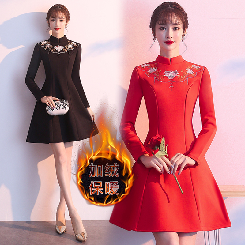 New Year Women Vintage Floral Embroidery Mini Dress Plus Size 5XL Red Black A line Dresses Chinese Style Improved Cheongsam