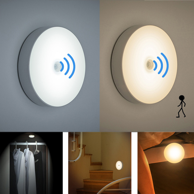 6 LEDs PIR Motion Sensor Night Light Auto On/Off for Bedroom Stairs Cabinet Wardrobe Wireless USB Rechargeable Wall Lamp-in Night Lights from Lights & Lighting