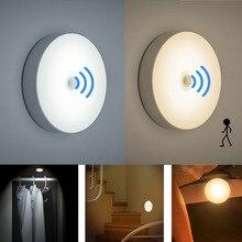 مصباح ليلي بمستشعر الحركة PIR مزود بـ 6 لمبات led مصباح جداري لاسلكي USB قابل لإعادة الشحن لغرفة النوم