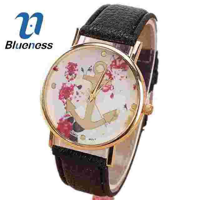 Para Mujer anclas reloj para mujeres muñeca Vintage correa de cuero flor  vestido reloj Montre Femme 111eacfe16bf