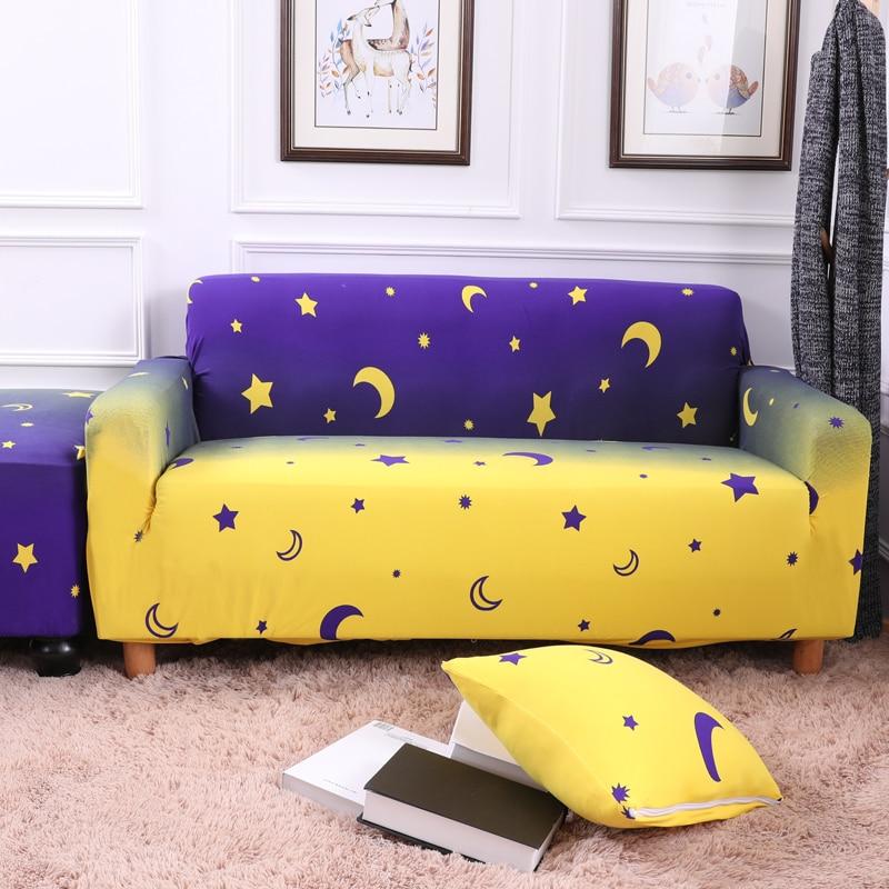 Purple and Yellow Stars Elastic Couch/Corner Sofa Covers