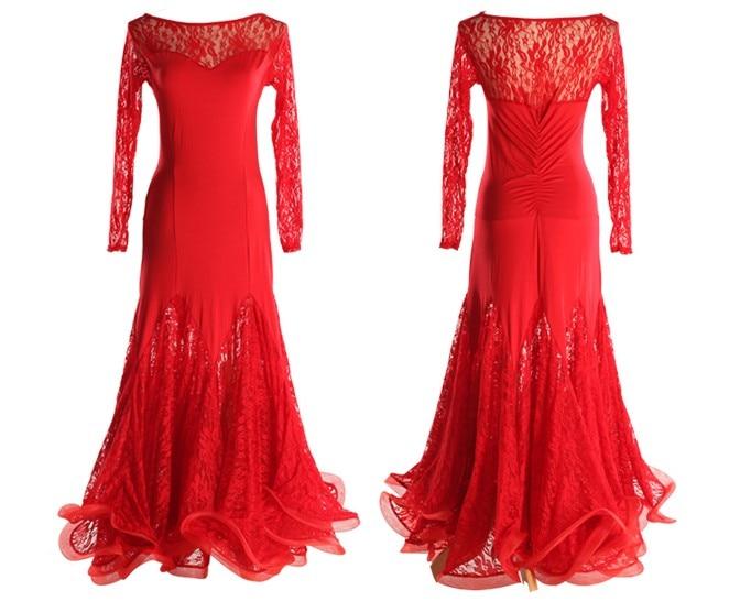 09bb3ec6481c3 Moda traje de baile latino Latin baile Cha Cha danza vestido de manga larga  de encaje de cuello barco de la falda del Falbala vestido tl042 en Latina  de La ...
