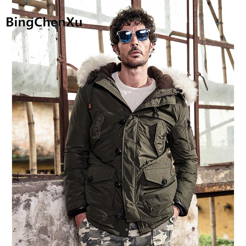 2017 New Winter Thick Warm Parka Fur Thicken Coats Fashion Parkas men Hooded Down Jackets Snow Outerwear male Overcoats 552
