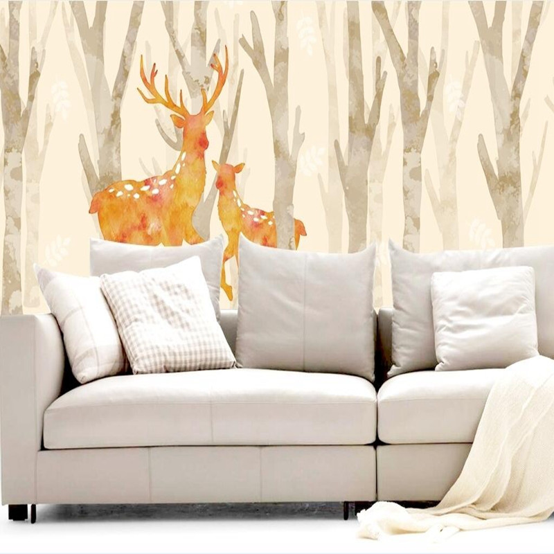 3D Wall Mural European Wallpaper Living Room Watercolor Cartoon Elk Deer Wall Paper Pastoral 3D Wall Murals Non Woven Wallpapers fashion rustic wallpaper 3d non woven wallpapers pastoral floral wall paper mural design bedroom wallpaper contact home decor