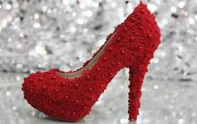 2016 New Luxury Fashion  Round Toe Red LACE Flower and pearl style heelpiece  Comfortable Middle Heel Shoes for women's shoes