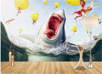 3d wallpaper custom photo mural Sharks eat people on the beach painting room wallpaper for walls 3d wall muals wall paper