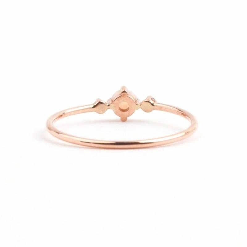 แหวนโอปอลไฟบาง Rainbow แหวน Rose Gold Cubic Zircon Birthstone Rhinestone Simple แหวน Anillos anel เครื่องประดับ Z45