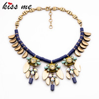 New Design Fashion Jewelry Collares 2015 Elegant Blue Resin Chain Plant Pendant Banquet Necklaces Pendants