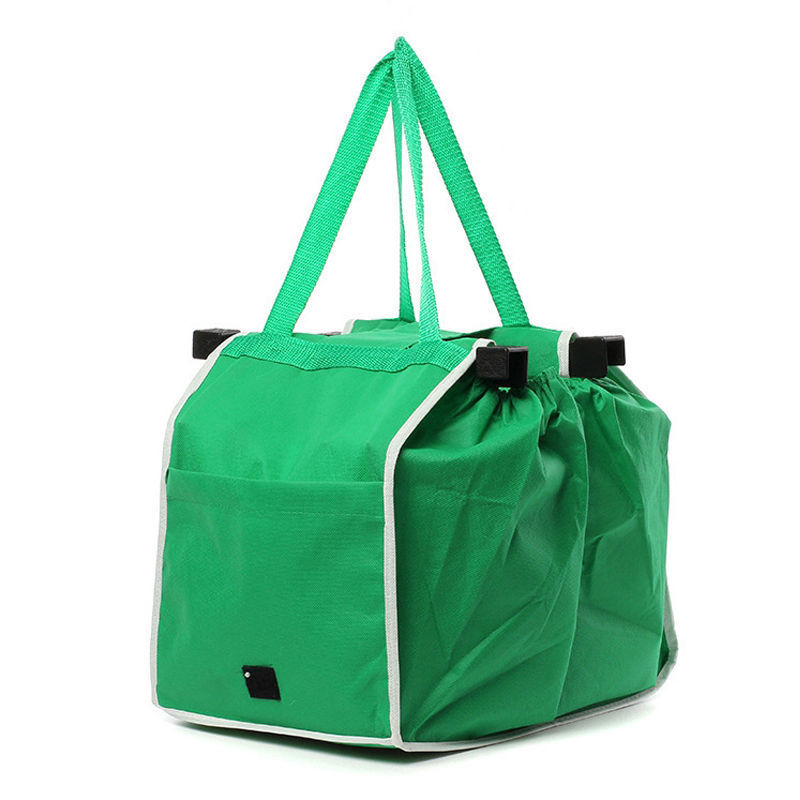 Big Shopping Bag Foldable Handbag Reusable Trolley Clip To Cart Grocery Bag green