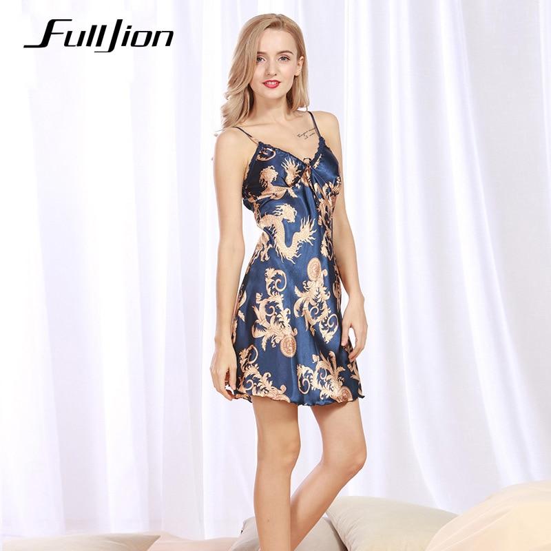Fulljion Ladies Sexy Silk Satin Night Dress Sleeveless -2149