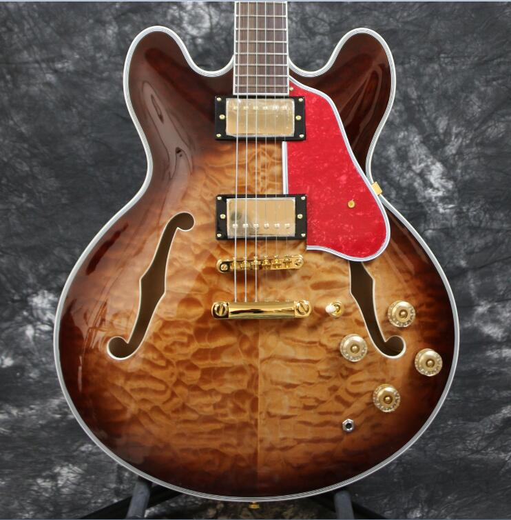 Top Quality Free Shipping ES 335 50th Anniversary 1963 ES 335 Semi Hollow Body Electric Guitar 5A Quilt Maple Top Gold Hardware