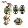 2016 NEW 3 PCS/Sets Green Womens Jewellery Sets Vintage Look Gold Plated Ring Earrings And Bracelet Cheap Fashion Jewelry Set